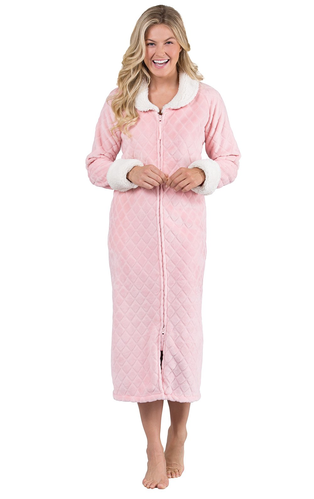 PajamaGram Fleece Robes for Women - Zip Up Robe