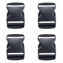 Plastic Buckles (Black Single Adjust, 2 Inch, 4 Pack) - Quick Side Release Buckle Clips