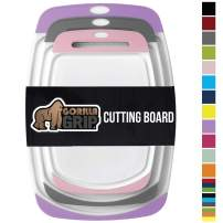 Gorilla Grip Original Oversized Cutting Board, 3 Piece, BPA Free, Dishwasher Safe, Juice Grooves, Larger Thicker Boards, Easy Grip Handle, Non Porous, Extra Large, Set of 3, Purple, Gray, Pink