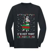 I'd Hit That Ugly Christmas Pinata Llama Box Youth Kids Long Sleeve T-Shirt