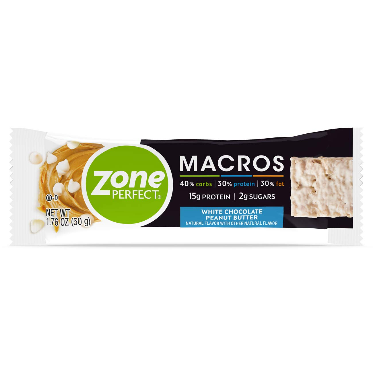 ZonePerfect Macros Protein Bars, White Chocolate Peanut Butter, 20 Count