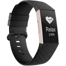 Recoppa Compatible with Fitbit Charge 3 Bands for Women Men, Waterproof Breathable Wristbands for Fitbit Charge 4 / Fitbit Charge 3 SE Fitness Activity Tracker (Small, 1Pack Black)