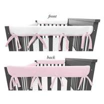 "American Baby Company 2 Pack Heavenly Soft Chenille Reversible Crib Rail Cover for Side Rails, Pink/White, Narrow for Rails Measuring up to 8"" Around"