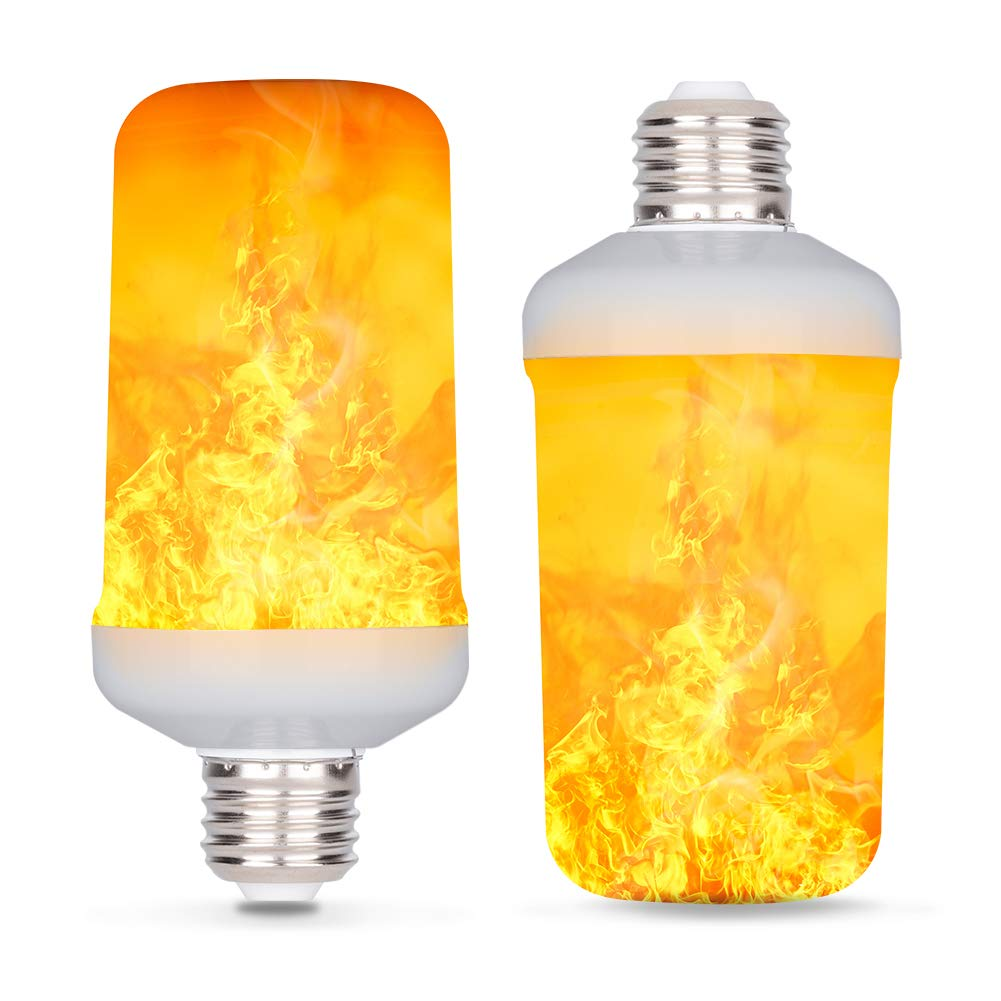 LED Flame Effect Light Bulb, E26 7W 4 Modes with Gravity Induced Decorative Light Fire Flickering Atmosphere Lighting Vintage Flaming Lamp, Decorative Light for Halloween,Christmas (2 Pack)