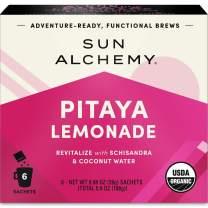 Sun Alchemy Pitaya Lemonade, Revitalize with Organic Lemon Juice, Pitaya, Coconut Water, Ginger & Schisandra - 6 Sachets | Just Add Water & Enjoy