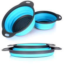 Set of 2 Collapsible Kitchen Colander Strainer - 5 Quart, and 2.5 Quart - Perfect for Draining Pasta, Vegetable, Fruits (Blue)