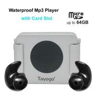 Tayogo Waterproof Swimming Mp3 Player Headset Music Player with Card Slot with Shuffle Feature Silver