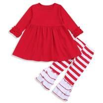 2Pcs Little Girls Outfit Set Orange/Pink Long Sleeve Ruffle Irregular Hem Blouse Top and Floral Pants Clothes Sets