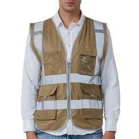 GOGO 9 Pockets High Visibility Zipper Front Safety Vest With Reflective Strips, Meets ANSI Standards-Khaki-XXL