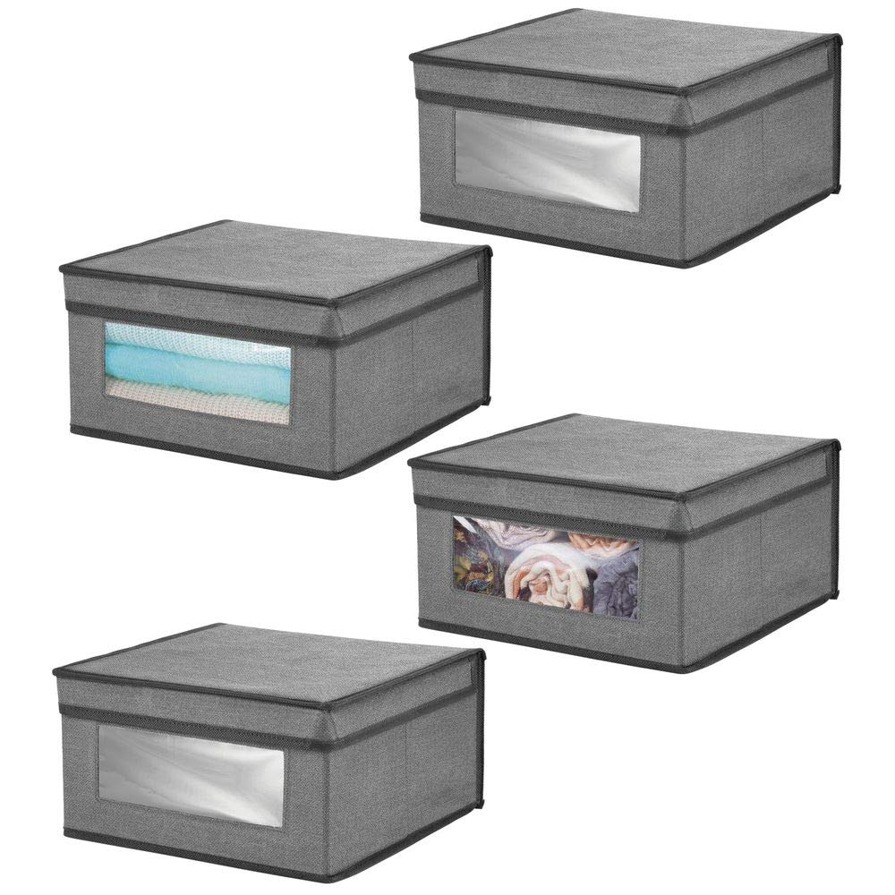 mDesign Soft Stackable Fabric Closet Storage Organizer Holder Bin with Clear Window, Attached Hinged Lid - for Bedroom, Hallway, Entryway, Bathroom - Textured Print - Medium, 4 Pack - Charcoal/Black