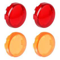 2 Amber 2 Red Bullet Turn Signal Light Lens Cover Compatible with Harley Sportster Road King Street Glide Softail, Full Set 4 Packs