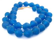 Jumbo Bicone Recycled Glass Beads - Beaded Wall Hangings - Extra Large African Sea Glass Beads 25mm - The Bead Chest (Azul)
