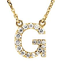 Dazzlingrock Collection 0.12 Carat (ctw) 14K Diamond Uppercase Letter 'A' to 'Z' Initial Pendant (Gold Chain Included), Yellow Gold