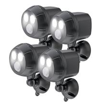 Mr. Beams MB394, 400 Lumen Version, Weatherproof Wireless Battery Powered Led Ultra Bright Spotlight with Motion Sensor, 4-Pack, Brown