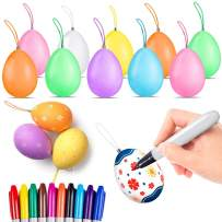 35Pcs Easter Egg Decorating Coloring Dyeing Kits with 10pcs Markers, DIY Plastic Egg Dye Decorations Dying Kit Hang Ornaments Arts and Crafts Painting Gift Party Favor Toy for Kids Toddlers Girls Boys
