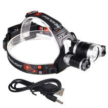 CASTNOO T6 LED Headlamp, Super Bright 3000 Lumen USB Rechargeable Headlamp Flashlight,IPX5 Waterproof,4 Modes for Outdoor Camping Cycling Running Fishing,2 18650 Battery (Not Included)