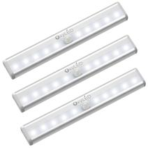 OxyLED Motion Sensor Closet Lights, Cordless Under Cabinet Lightening, Wireless Stick-on Anywhere Battery Operated 10 LED Night Light Bar, Safe Lights for Closet Cabinet Wardrobe Stairs, 3 Pack