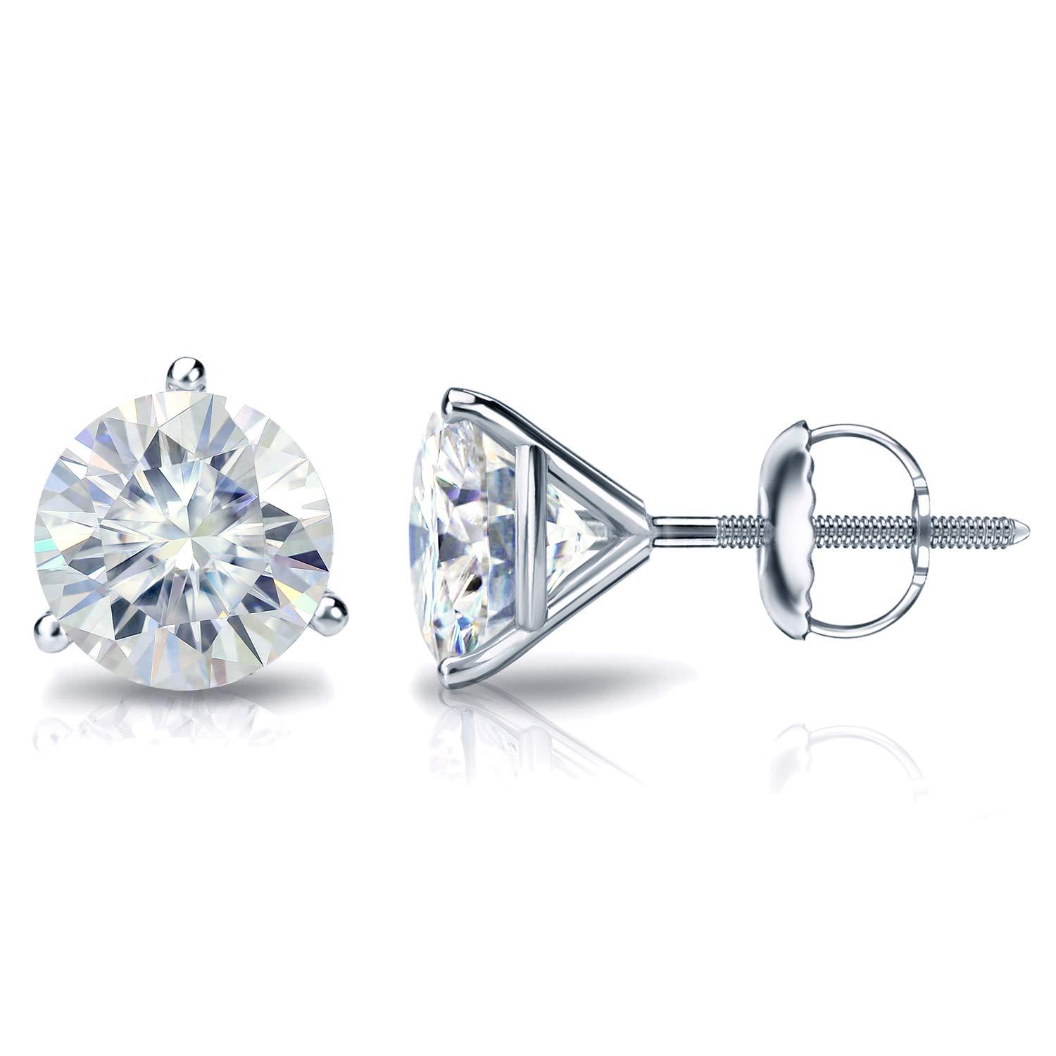 Platinum Round Moissanite Stud Earrings (1 to 7ct TGW, J-K) 3-Prong Martini, Screw-Back by Diamond Wish