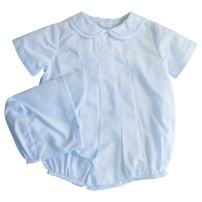 Petit Ami Baby Boys' Romper with Pleats and Feather Stitching, Blue