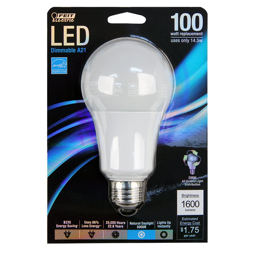 Feit Electric BPOM100/850/LED Dimmable Multi-Use Led Bulb, 17 W, 120 V, A21, Medium Screw E26, 25000 Hr, Daylight