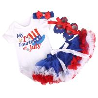 Amberetech 1st 4th of July Baby Girl Outfit Tutu Dress Party Costume Cotton Short Sleeve 4pcs Clothing Set