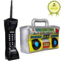 VEYLIN 2Pack Inflatable Rapper Costume Accessories, Inflatable Radio Boombox and Mobile Phone Props for 80s 90s Party Decorations