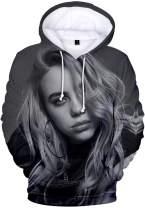 EMILYLE Billie Eilish Women 3D Print Hoodie with Pockets Fashion Music Sweatshirt