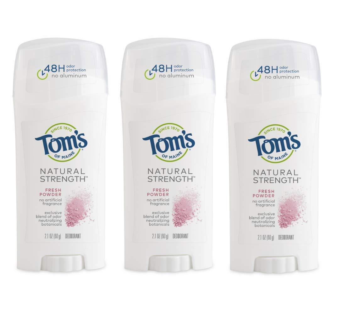 Tom's of Maine Natural Strength Deodorant, Natural Deodorant, 48-Hour Odor Protection, Fresh Powder, 3 Pack