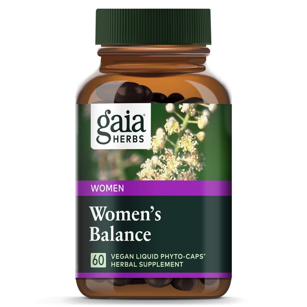 Gaia Herbs Women's Balance, Vegan Liquid Capsules, 60 Count - Hormone Balance for Women, Mood and Liver Support, Black Cohosh, St John's Wort, Organic Red Clover & Dandelion Root
