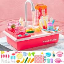 Childrens Kitchen Helper Playsets with Stove/Sink Combo,Automatic Water Cycle System Play Accessories,Kids Electric Dishwasher Pretend Play with Running Water for Boys Girls Toddlers Age 3-8 Pink
