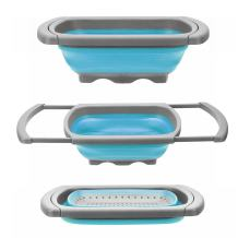 Glotoch Collapsible Colander 6 qt. Silicone, Over The Sink Strainer with Steady Base, Dishwasher-Safe BPA Free, Blue