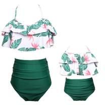 PURFEEL Mother and Daughter Swimwear Family Matching Swimsuit Girls Swimwear