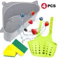 2 Pcs Kitchen Sink Strainers Basket, 2 Styles Kitchen Triangular Sink Filter Drain Shelf Sink Storage Holder with Suction Cup 2 Sponges for Kitchen Bathroom Support Corner Rack (Gray)