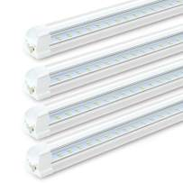 (Pack of 4) SHOPLED 8FT LED Shop Light Fixture, LED Tube Lights, 8280LM, 6000K Cool White, Dual Row T8 Integrated, High Output Bulb for Garage, Warehouse, Workshop, Basement, Clear, Linkable Lamp