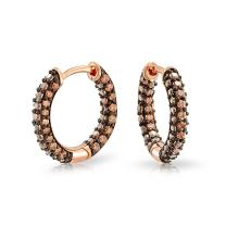 Pave Pink or Brown CZ Inside Out Small Tube Huggie Hoop Earrings For Women Cubic Zirconia Chocolate Rose Gold Plated