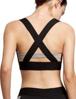 QUEENIEKE Women's Medium Support Sports Bra Cross Back V-Neck Workout Top (90328)
