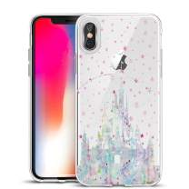 Unov Case Clear with Design Slim Protective Soft TPU Bumper Embossed Pattern Protective Back Cover for iPhone Xs Max 6.5 Inch(Watercolor Castle)