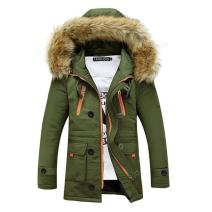 Newbestyle Men Faux Fur Hooded Jacket Cotton Padded Parka Outerwear Casaul Slim Coats
