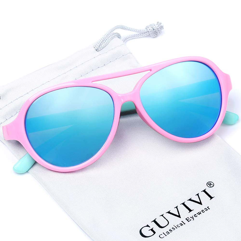 GUVIVI Polarized Kids Aviator Toddler Sunglasses TPEE Rubber Flexible for Boys Girls&Children Age 3-10