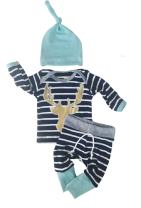 3pcs/Set Newborn Baby Boys Girls Striped Long Sleeve Deer Tops Pants Hat Outfits