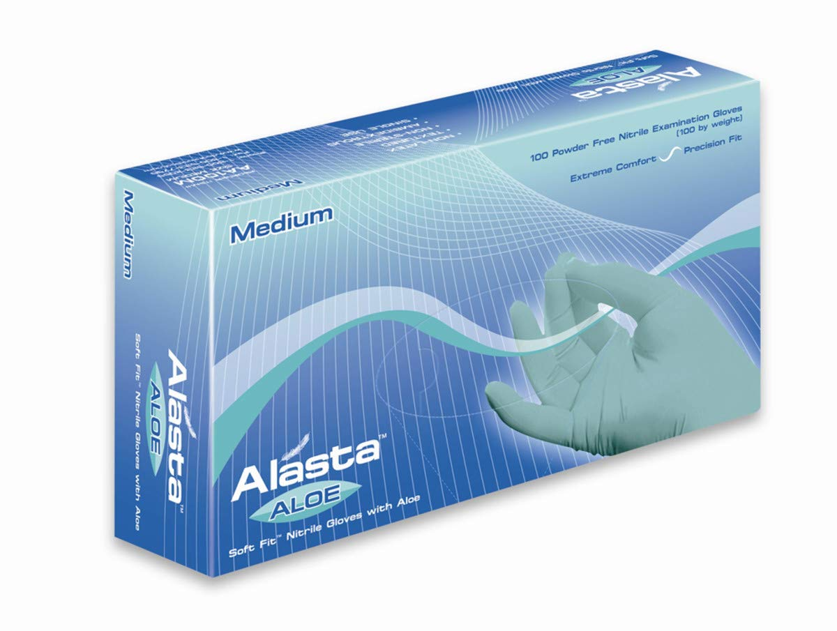 DASH Alasta Nitrile Exam Gloves - Disposable, Powder Free, Medical Grade (Case of 1000) (S, Aloe)