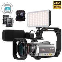Camcorder 4K Video Camera, ORDRO 4K 30FPS Video Camera WiFi IR Night Vision 4K Ultra HD YouTube Vlogging Camera with Microphone, Wide Angle Lens, Camera Holder, LED Fill Light and 64GB SD Card