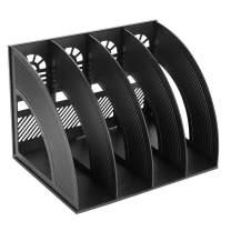 Marte Vanci Magazine File Holder Vertical PP Folder Book Desktop Organizer Plastic Storage Sturdy Vertical 4 Section Folder Black
