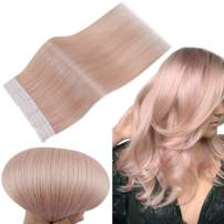 RUNATURE Real Human Hair Tape in Extensions 12 Inches Color Pink 10Pcs(2g Per Piece,20g) Invisible Remy Hair Extensions for Women