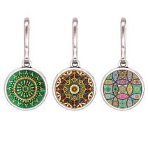 HEYGOO Boho-Inspired Zipper Pull, Colorful Abstract Paint Jewelry Charms Pendant, Pack of 3