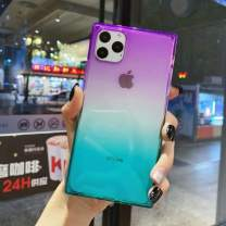 iPhone 11 Pro Case,Tzomsze Clear Square Case Cute Gradient Slim Silicone Transparent Reinforced Corners TPU Cushion Cover Case for iPhon 11 Pro [5.8 inch]-Purple Green