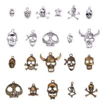 PH PandaHall 42pcs 21 Style Tibetan Alloy Skeleton Skull Pendants Charms Steampunk Skull Head Pirate Charms Crafts for Necklace Bracelet Making