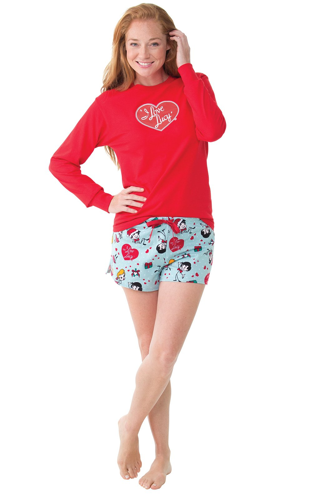 PajamaGram I Love Lucy Christmas Short Set Pajamas for Women, Red