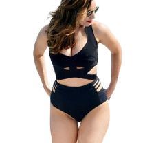 Lukitty Women's 2PCS Plus Size High Waist Strappy Bikini Set Swimsuits Swimwear