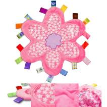 Infant Comfort Security Blanket with Colorful Tags Soft Plush Taggy Blanket Baby Tags Toy for Girl-Pink Flower…